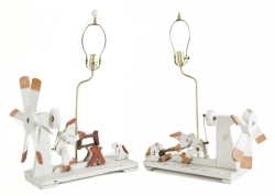 PAIR OF FOLK ART WHIRLIGIG TABLE LAMPS