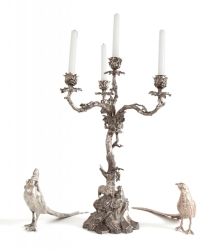 CANDELABRA AND PAIR OF PHEASANTS