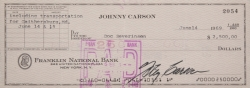 JOHNNY CARSON CANCELLED CHECKS TO MUSICAL PERFORMERS