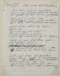 "JOHNNY CASH HANDWRITTEN ""LOOK AT ME THAT WAY AGAIN"" LYRICS"