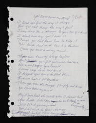 "JOHNNY CASH HANDWRITTEN ""YOU NEVER KNEW MY MIND"""