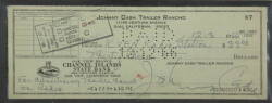 JOHNNY CASH SIGNED CHECK