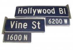 HOLLYWOOD AND VINE STREET SIGNS