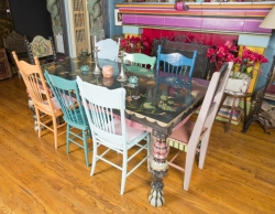 ZAPPA HANDPAINTED DINING TABLE AND EIGHT CHAIRS