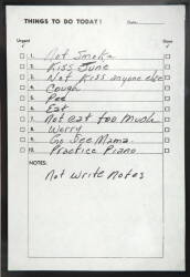 "JOHNNY CASH ""TO DO"" LIST"