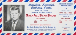 MARILYN MONROE JOHN F. KENNEDY 1962 BIRTHDAY GALA TICKET
