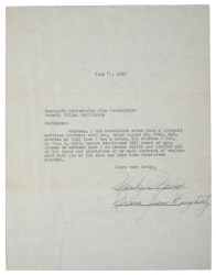 MARILYN MONROE DOUBLE SIGNED 1947 DOCUMENT