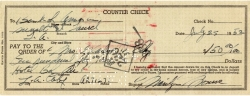 MARILYN MONROE 1952 SIGNED CHECK TO HER MOTHER