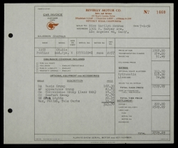 MARILYN MONROE AUTOMOBILE INVOICE