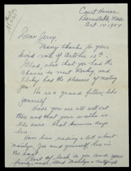 MARILYN MONROE JACK DEMPSEY LETTER REQUESTING MARILYN MONROE'S AUTOGRAPH