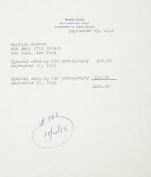 MARILYN MONROE INVOICE FOR SPECIAL EVENT MAKEUP
