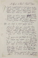 "JOHNNY CASH HANDWRITTEN ""I HAD A REAL GOOD TIME"" LYRICS"