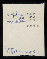 MARILYN MONROE COFFEE RECEIPT