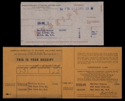 MARILYN MONROE AFTRA CARD AND RECEIPTS