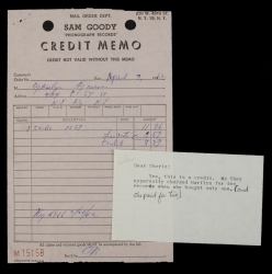 MARILYN MONROE RECORD ALBUM MEMO