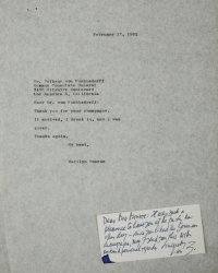 MARILYN MONROE CORRESPONDENCE WITH GERMAN DIPLOMAT