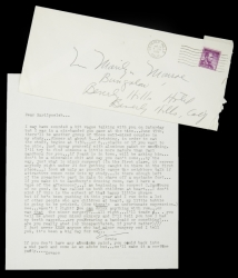 EXTRAORDINARILY AMUSING LETTER FROM ERNIE KOVACS TO MARILYN MONROE
