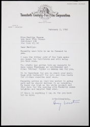 MARILYN MONROE LETTER FROM HENRY WEINSTEIN