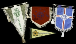 PELÉ SIGNED GROUP OF BRAZIL AND MEXICO PENNANTS