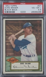 Duke Snider 1952 Topps Black Back Baseball Card Graded Psa