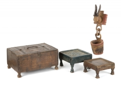 PATRICK SWAYZE AFRICAN CHEST AND STOOLS
