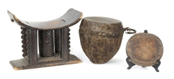 PATRICK SWAYZE AFRICAN DRUM WITH STOOL AND DIVINATION TRAY