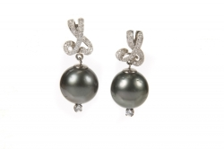 DORIS ROBERTS TAHITIAN PEARL AND DIAMOND EARRINGS