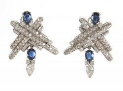 DORIS ROBERTS DIAMOND AND SAPPHIRE EARRINGS