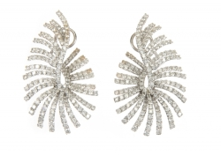 DORIS ROBERTS DIAMOND AND WHITE GOLD EARRINGS
