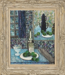SHIRLEY JONES STILL LIFE WITH VERMOUTH BOTTLE