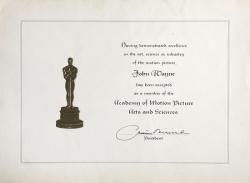 JOHN WAYNE ACADEMY OF MOTION PICTURE ARTS AND SCIENCES EXCELLENCE AWARD