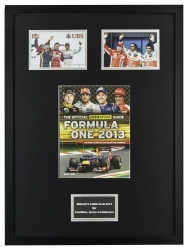HAMILTON, ALONSO AND RÄIKKÖNEN SIGNED 2013 F1 BBC SPORT GUIDE DISPLAY