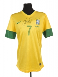 LUCAS 2012 BRAZIL MATCH WORN AND SIGNED JERSEY
