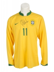 ROBINHO BRAZIL TEAM ISSUED AND SIGNED LONG-SLEEVE JERSEY