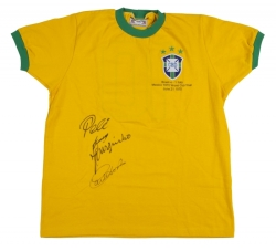1970 WORLD CUP FINALS GOAL SCORERS SIGNED BRAZIL JERSEY WITH GAME INSCRIPTION
