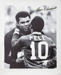 PELÉ SIGNED NEW YORK COSMOS FINAL GAME CANVAS WITH MUHAMMAD ALI