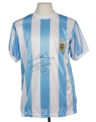 DIEGO MARADONA SIGNED ARGENTINE FOOTBALL FEDERATION REPLICA JERSEY