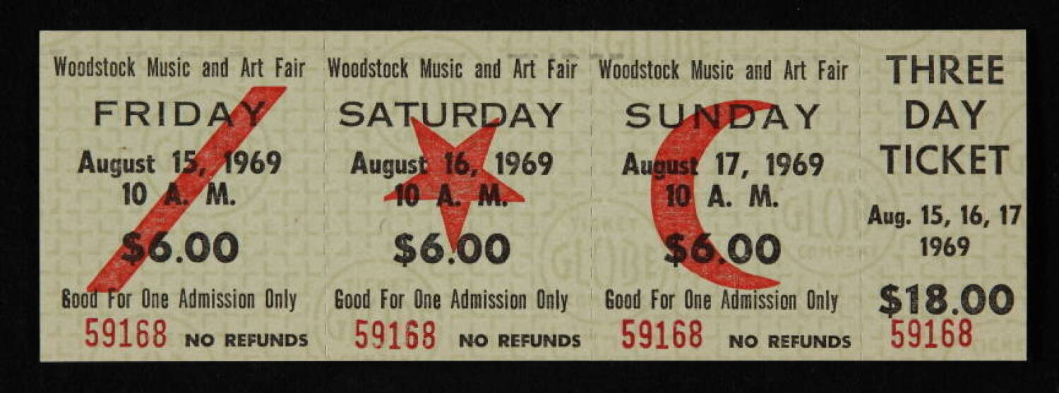 Image result for woodstock tickets 1969