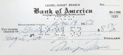 MARILYN MONROE SIGNED CHECK, DECEMBER 1953