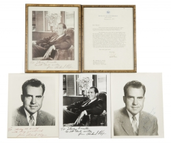 RICHARD NIXON SIGNED PHOTOGRAPHS AND LETTER