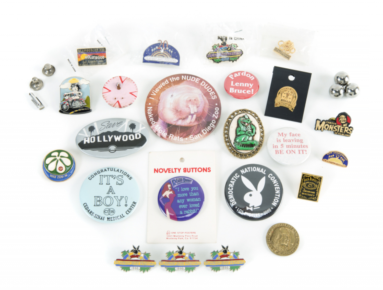 HUGH HEFNER ASSORTED NOVELTY BUTTONS AND PINS - Price