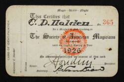 HARRY HOUDINI SIGNED CARD