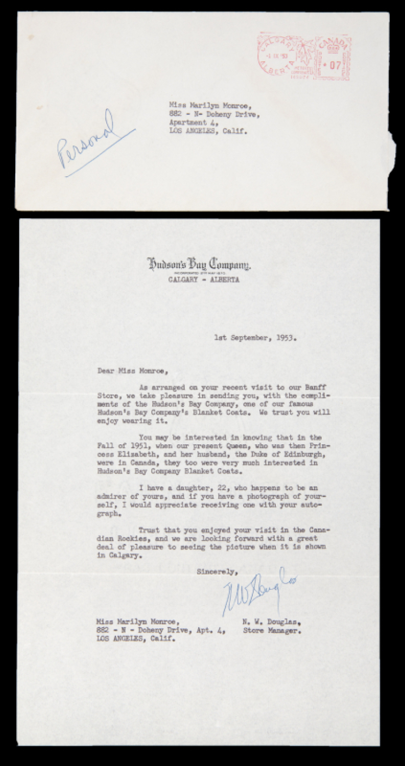 MARILYN MONROE RECEIVED LETTER FROM HUDSON'S BAY COMPANY