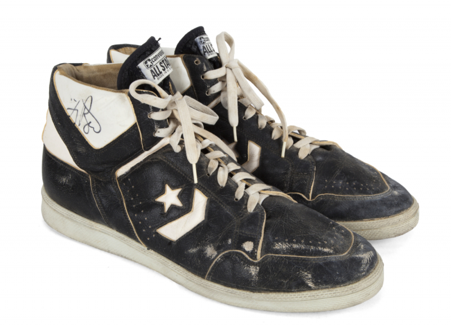 LARRY BIRD GAME WORN AND SIGNED SHOES