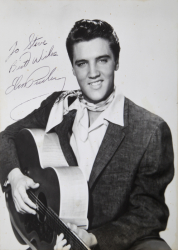 ELVIS PRESLEY SIGNED BLACK AND WHITE PHOTOGRAPH