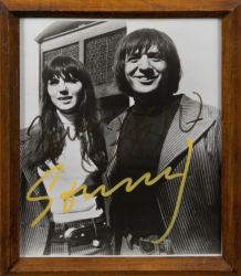 SONNY AND CHER SIGNED BLACK AND WHITE PHOTOGRAPH