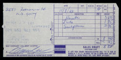 BRUCE LEE SIGNED CREDIT CARD RECEIPT