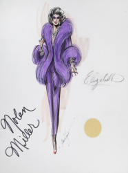 ELIZABETH TAYLOR COSTUME DESIGN SKETCH BY MARK ZUNINO FOR NOLAN MILLER