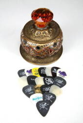 """JEWELED"" LIDDED CONTAINER WITH GUITAR PICKS"