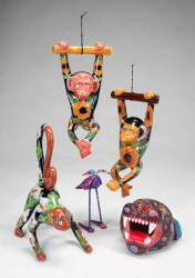 GROUP OF CERAMIC AND PAPIER MACHE ANIMALS